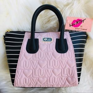 Betsey Johnson satchel pink blush black quilted